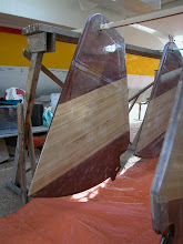 Photo: Four centerboards / skegs made of marine plywood with ash wood inlays for more stability.
