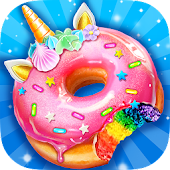 Unicorn Rainbow Donut - Sweet Desserts Bakery Chef