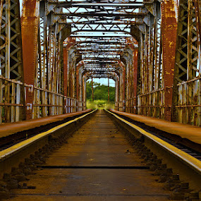 Vanishing Point. by Dave Ross - Buildings & Architecture Bridges & Suspended Structures ( old, railway, rusty, steel, pwcbridges )