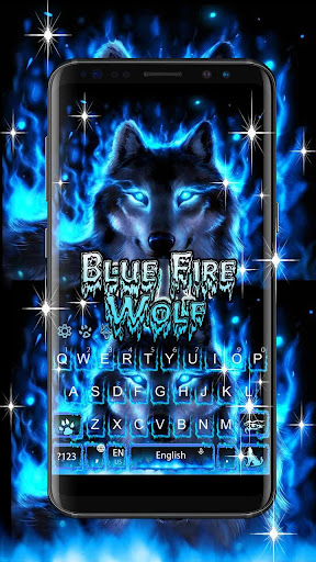 Blue Fire Wolf Keyboard Theme 10001004 screenshots 3