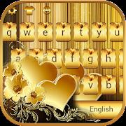 Gold Love theme for free Emoji Keyboard