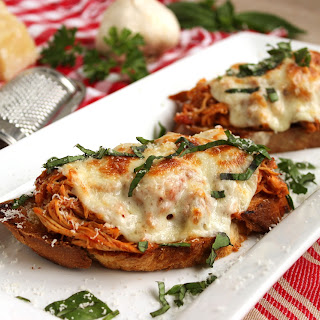 Open-Faced Pulled Chicken Parmesan Sandwiches.