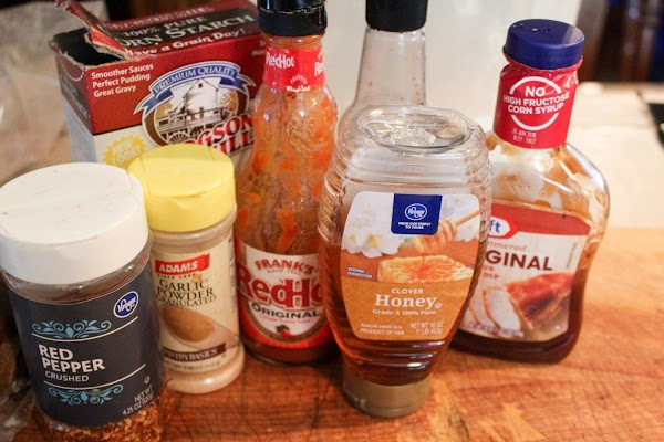Ingredients for wing sauce.