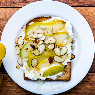 Ricotta Toast with Pears and Honey.