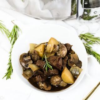 Rosemary Red Wine Crock Pot Beef and Mushroom Stew.