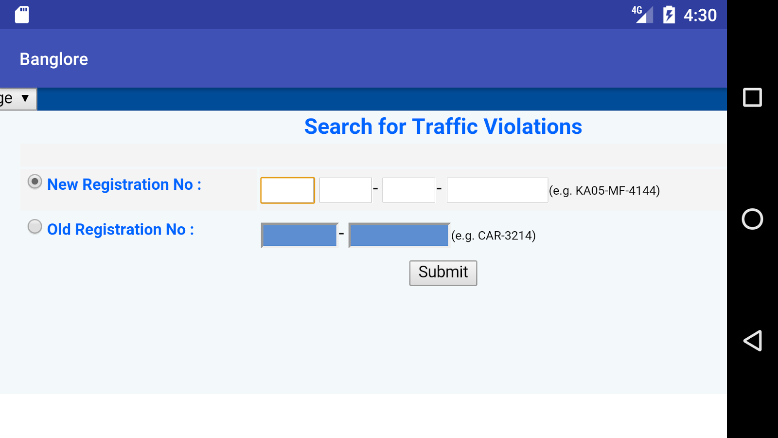 Banglore Traffic Violation- screenshot