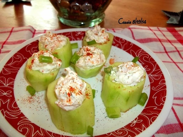 When ready to serve, simply stuff each cucumber round and place on serving platter....