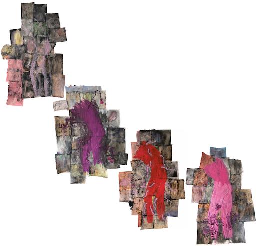 sophie-lormeau-artiste-plasticienne-peinture-papier-magazine-vouloir-etre-aimee-immortel-plaire-rose-mouche-histoire-personnelle-humanite-della-francesca-patrimoine-rencontres-art-contemporain-saint-auvent-corps-robot-adagp-©-2021-paris mutation transformation environnement naturel, culturel, de l'émergence du transhumanisme