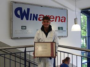 Photo: Severin Lindner erhält die bronzene Ehrennadel des Ju-Jutsu Verbandes Deutschland e.V.