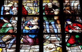 Photo: Die Goudaer Glasfenster 3:  Fenster XII, Detail: Die Geburt Jesu. (1564)