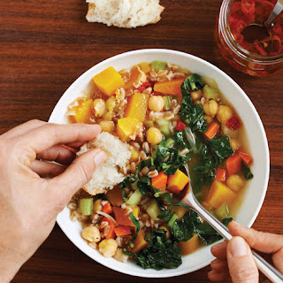 Chickpea, Roasted Squash, and Farro Soup