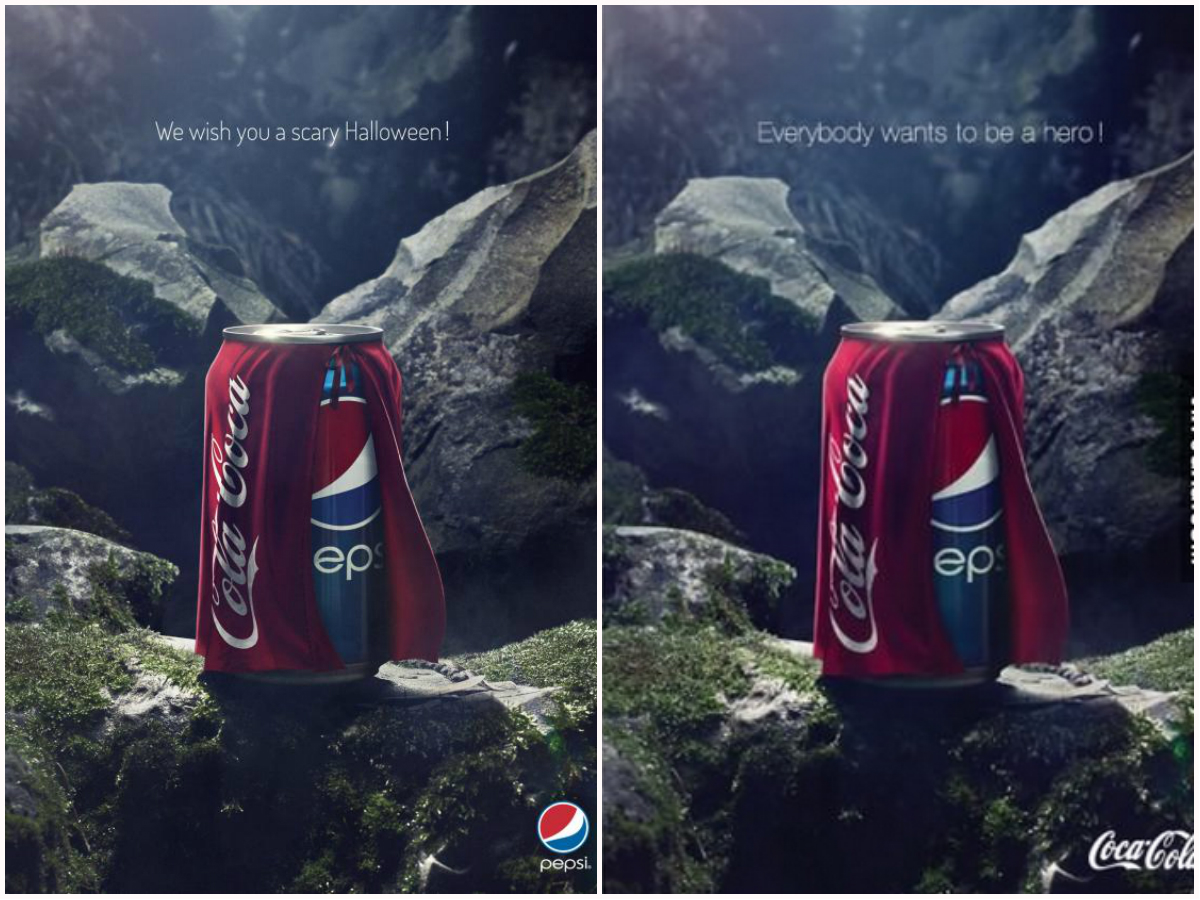 Pepsi and Coca-Cola's poster for Halloween, side by side