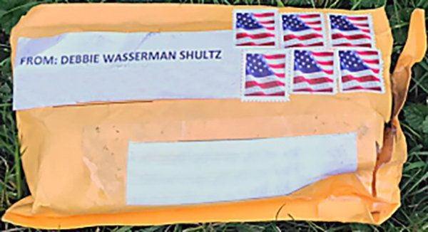 The exterior of one of the suspicious packages sent to multiple locations in the US. Picture: FBI/HANDOUT VIA REUTERS