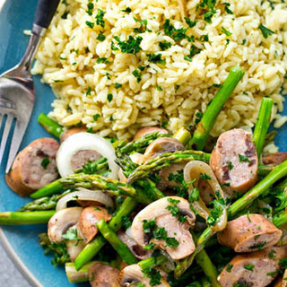 One-Skillet Balsamic Sausage, Asparagus, + Mushrooms
