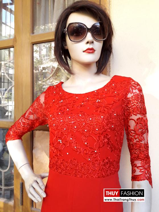 Váy ren dự tiệc đính hạt đá thủ công V373 thời trang thủy