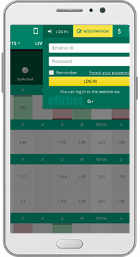 BetWinner mobile login for Android