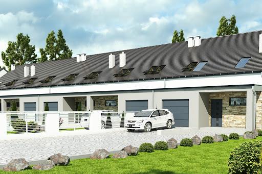 projekt Mazurek z garażem 1-st. szeregówka A-SZ
