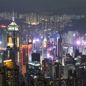 HK Night View by Loh Jiann - City,  Street & Park  Vistas ( night view, mountain peak, city view, buildings, hong kong, landscape,  )