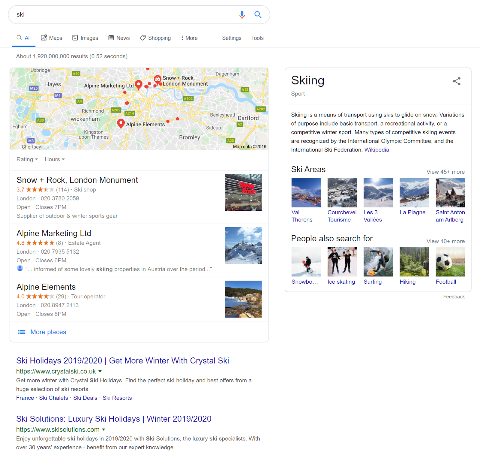 "screenshot of Google SERP for ""ski"""