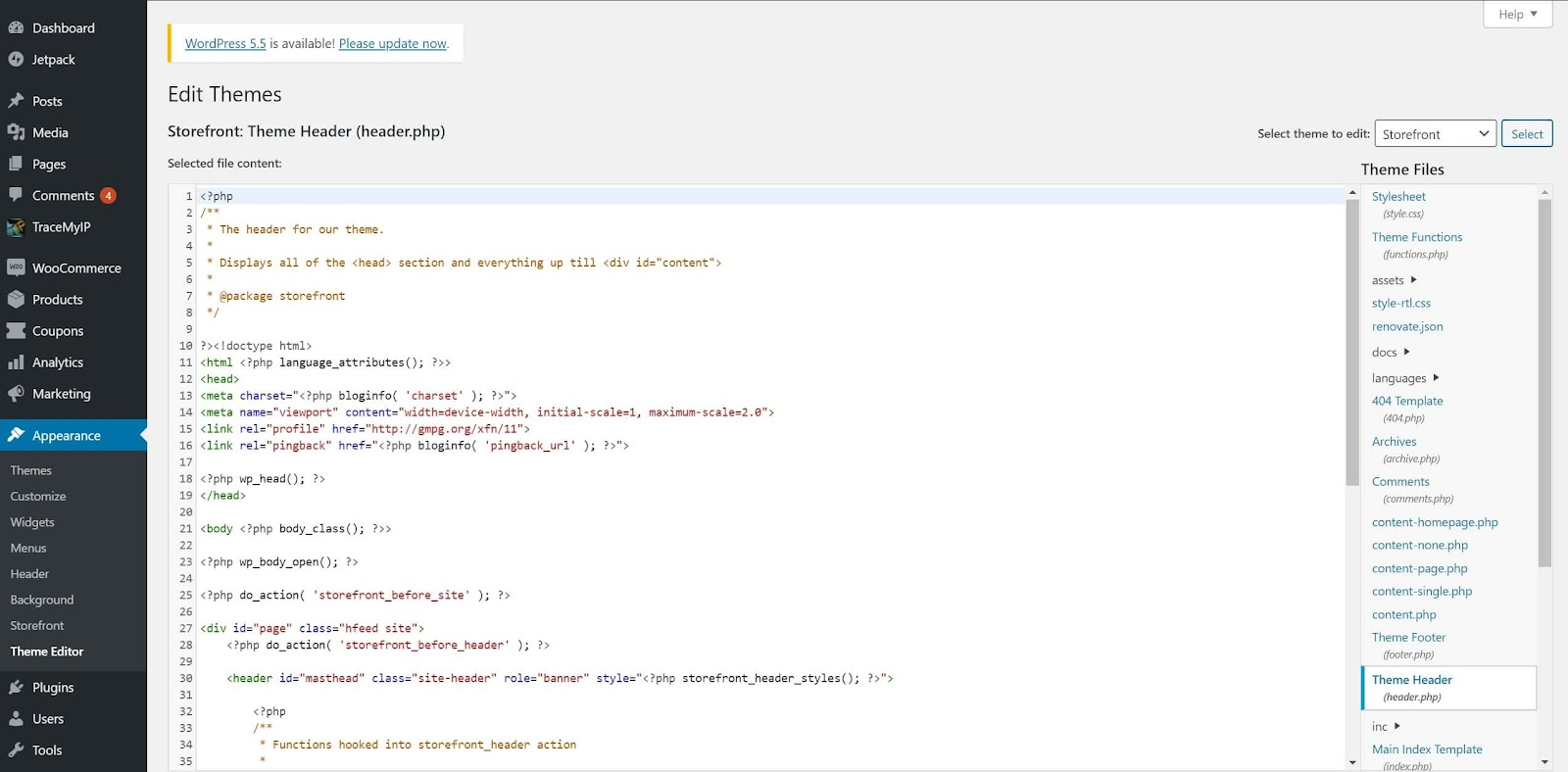 Screenshot showing how to add tracking code to your Theme Header in WordPress