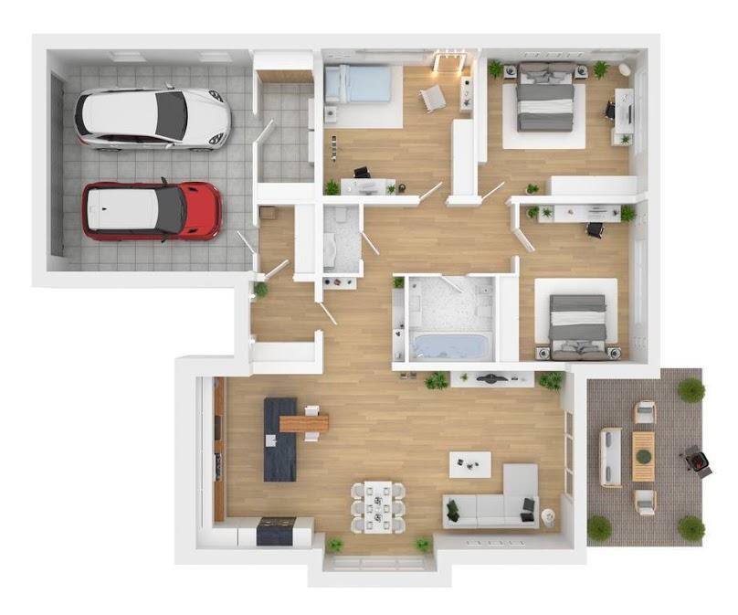 Wnętrze funkcjonalnego domu - rzut