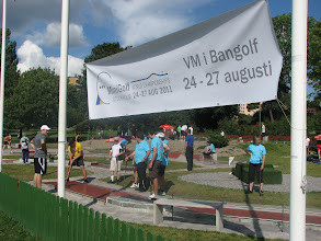 Photo: The banner that announces the World Championships can be seen from miles away. Photo: Bengt Svensson