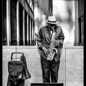Chicago Blues by Kevin Denton - Black & White Street & Candid ( entertainment, black and white, chicago, street photography )
