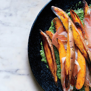 Roasted Sweet Potatoes with Speck and Chimichurri