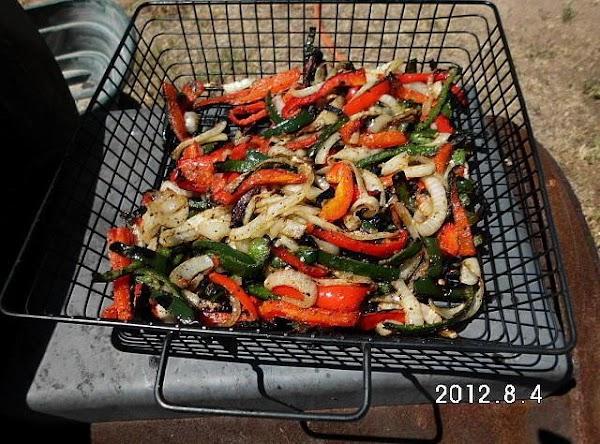 Grill veggies and onion slices till just slightly tender but still have a bite...