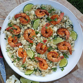 Cilantro-Lime Cauliflower Rice with Paprika Shrimp