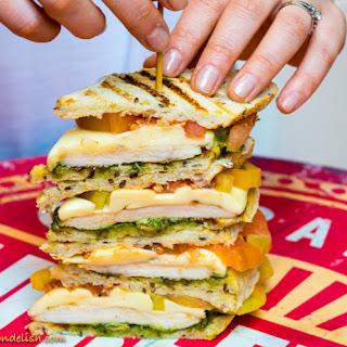 A Perfect BLT Sandwich with chicken, pesto and mozzarella