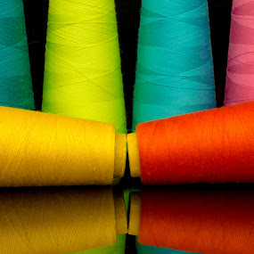threads2 by Paul Ortega - Artistic Objects Other Objects ( canon, orange, sky blue, blue, threads, dark, pink, yellow, colored )