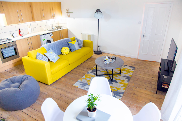 Living room at Cosmos Apartments, Hackney