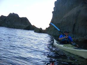 Photo: Rock-hopping through the gap at St Govan's Head