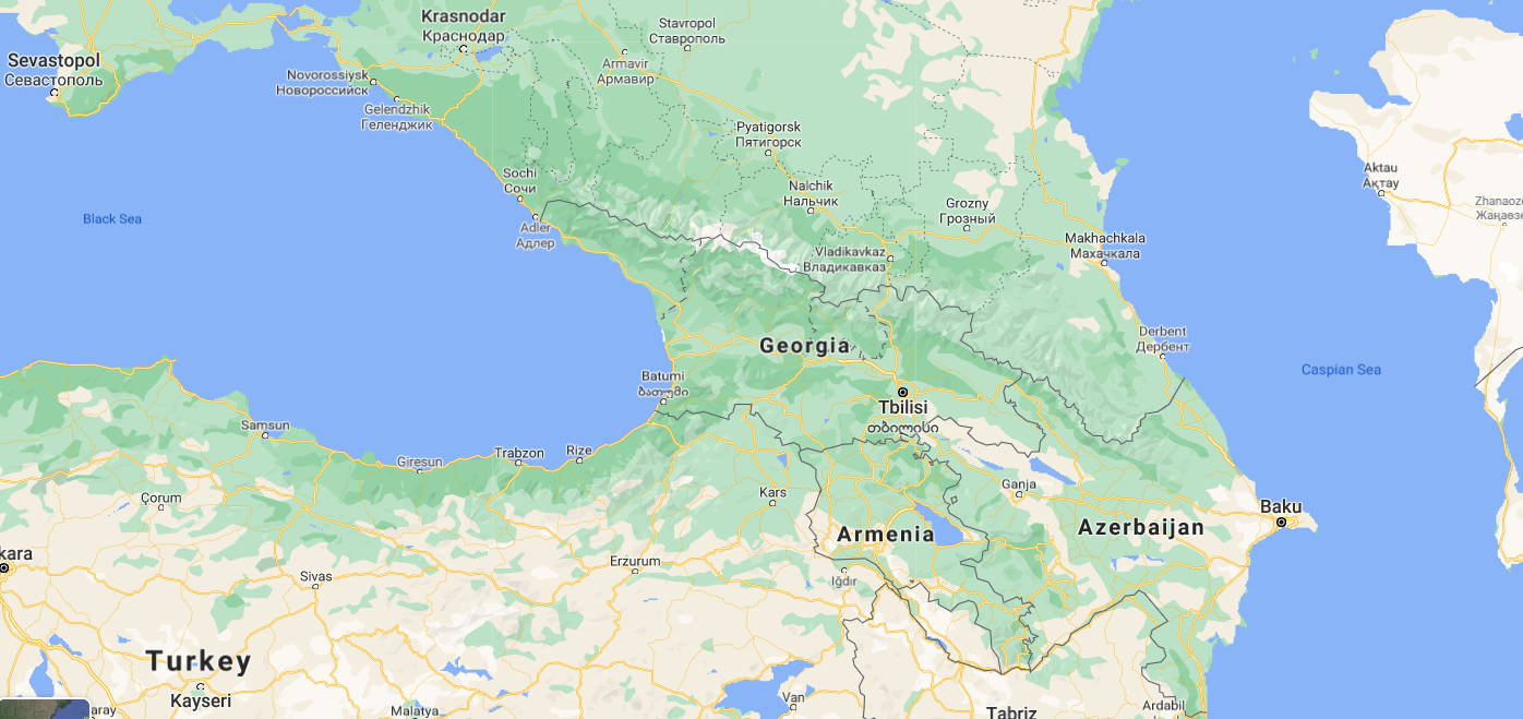 Google map centered around the country of Georgia