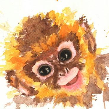 """快樂小猴子 水彩畫 8""""x10"""" 絨面相紙"""