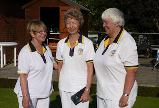 Photo: Ladies Two Wood winner Eunice Hargreaves with runner up Chris Bruce & Marker Avril Williams.