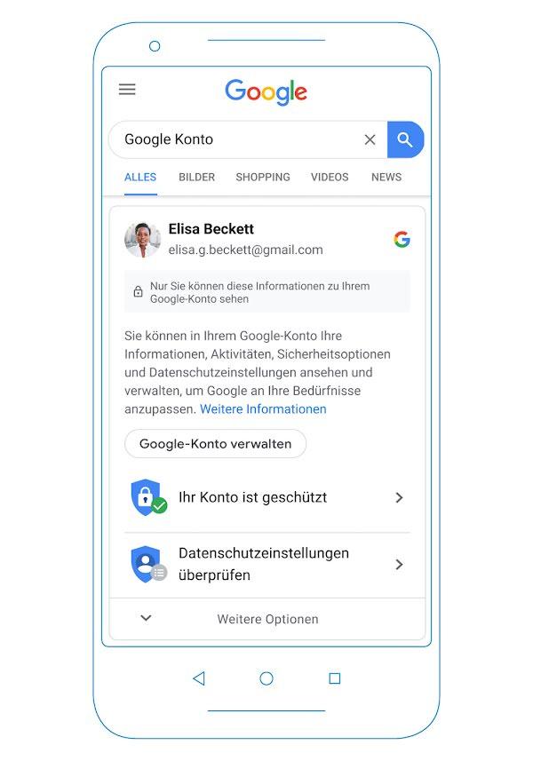 Über die Google-Suche erhalten eingeloggte Nutzer bald Informationen über ihr Google-Konto und ihre Sicherheits- und Datenschutzeinstellungen