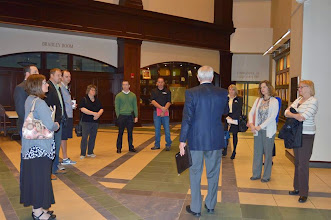 Photo: Foundation CEO Doug Tystad leads the board members on a tour of the Lewis and Clark Center, home of the U.S. Army Command and General Staff College on Fort Leavenworth.