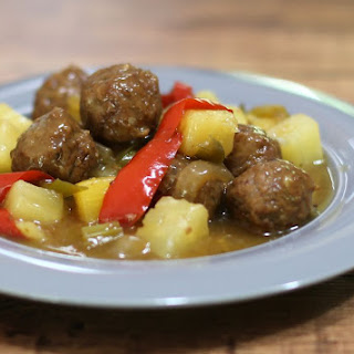 Sweet and Sour Meatballs with Pineapple.