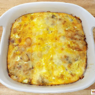 Bacon, Potato, and Muenster Cheese Breakfast Casserole.