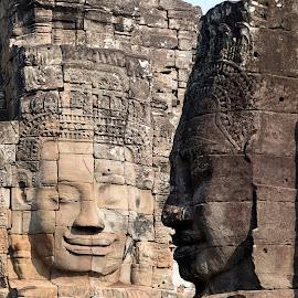 Bayon Temple - Cambodia by Hale Yeşiloğlu - Buildings & Architecture Statues & Monuments ( face, statues, temple, cambodia, bayon,  )