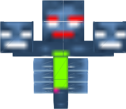 It has a green tummy. It has a red mouth and red eyebrows