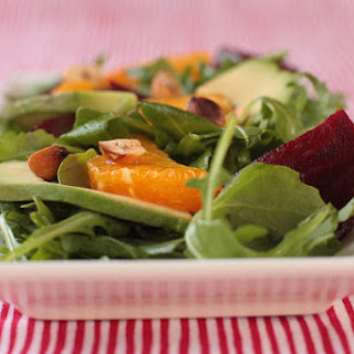 Arugula, Beet, Orange and Avocado Salad with Hazelnuts