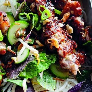 Vietnamese Pork Skewers With Rice Noodles.