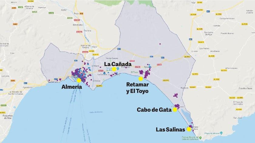 Mapa con los alquileres vacacionales disponibles en Almería capital.