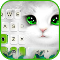 White Cute Cat Keyboard Theme icon