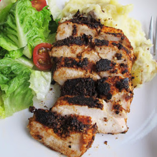 Blackened Chicken With Smashed Potatoes.