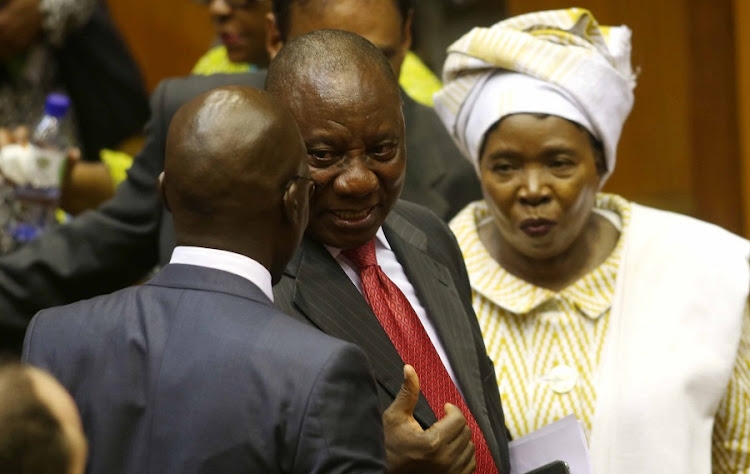 Members of the National Assembly congratulate newly appointed President of South Africa Cyril Ramaphosa at a sitting in Parliament. Picture: ESA ALEXANDER/SUNDAY TIMES