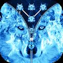 Ice Fire Wolf Lock Screen Zipper icon